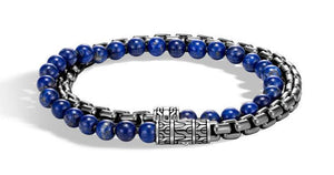 Box Chain Wrap Bracelet with Lapis Lazuli - M&R Jewelers