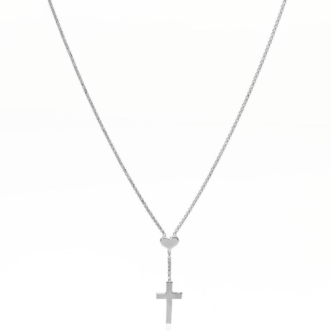Heart and Cross Pendant in Rose Gold or Silver - M&R Jewelers