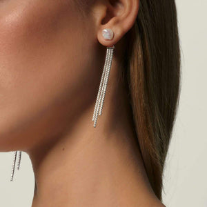 Classic Chain Tassel Ear Jacket with Fresh Water Pearl - M&R Jewelers