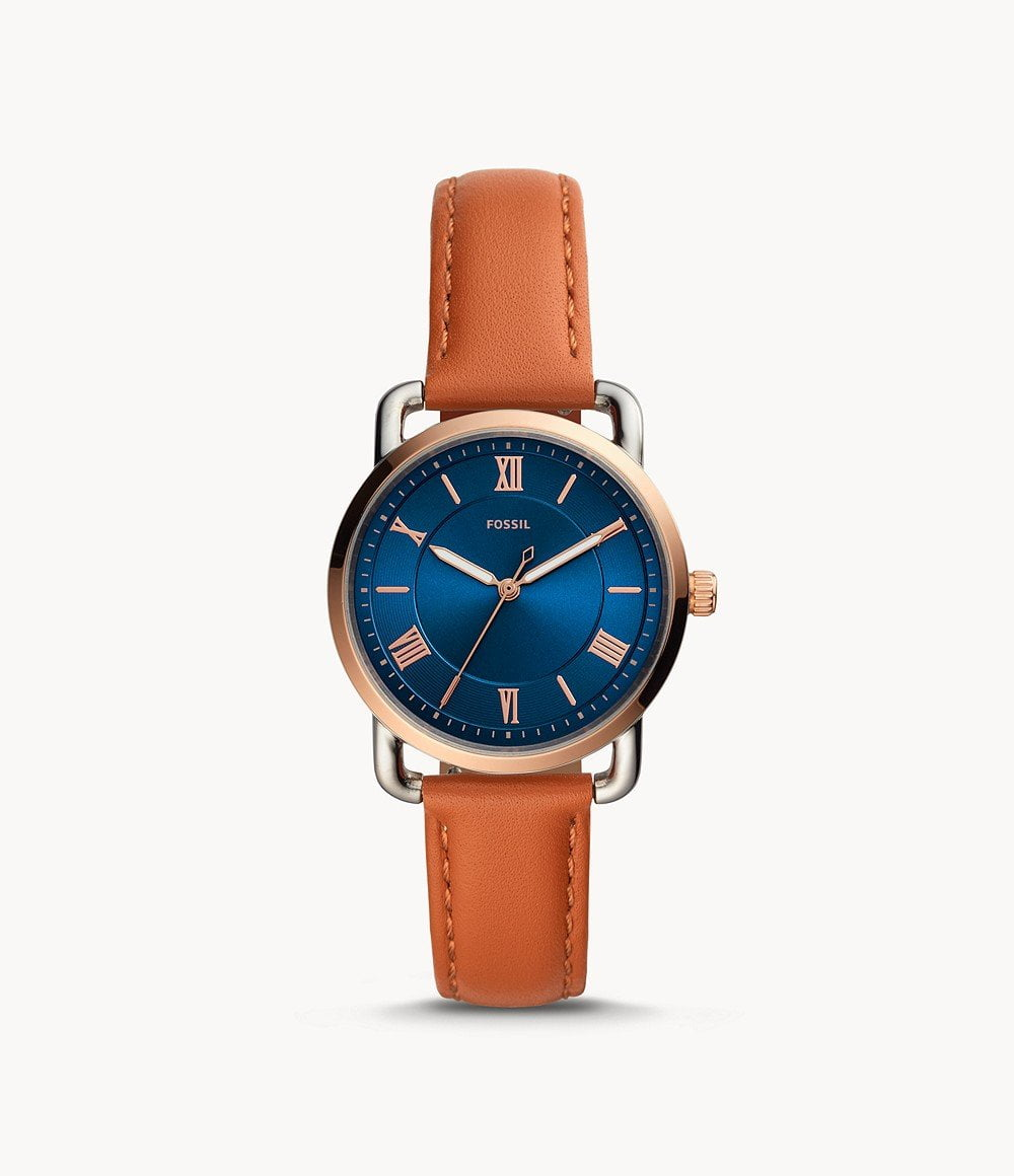 FOSSIL COPELAND THREE-HAND TAN LEATHER WATCH ES4825