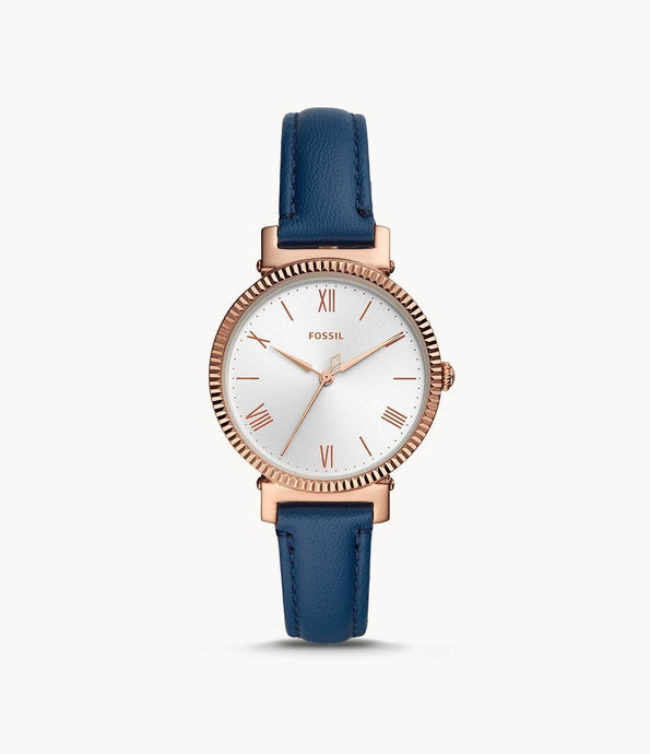FOSSIL DAISY THREE-HAND MIDNIGHT NAVY LEATHER WATCH ES4862