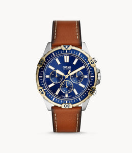 FOSSIL GARRETT CHRONOGRAPH LUGGAGE LEATHER WATCH FS5625