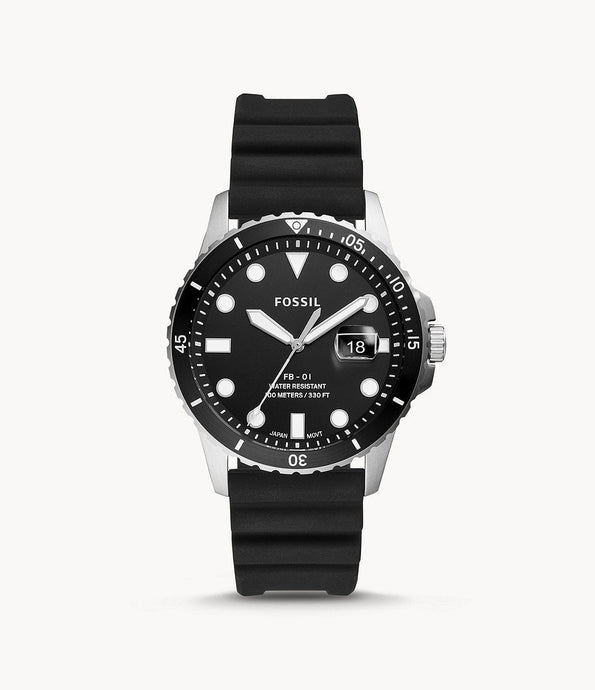 FOSSIL FB-01 THREE-HAND DATE BLACK SILICONE WATCH - M&R Jewelers