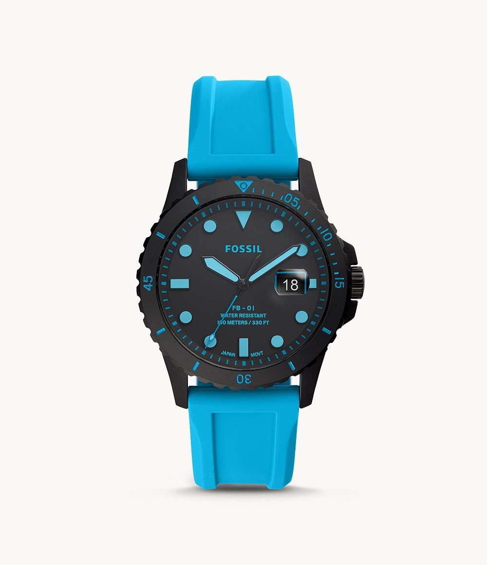 FOSSIL FB-01 THREE-HAND DATE NEON BLUE SILICONE WATCH - M&R Jewelers