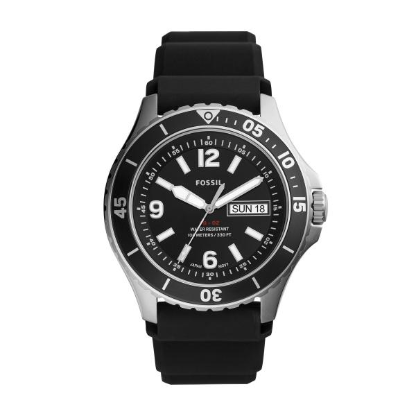 FOSSIL FB-02 THREE-HAND DATE BLACK SILICONE WATCH - M&R Jewelers