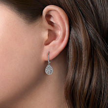 Load image into Gallery viewer, 14K WHITE GOLD CLUSTER DIAMOND TEARDROP EARRINGS - M&R Jewelers