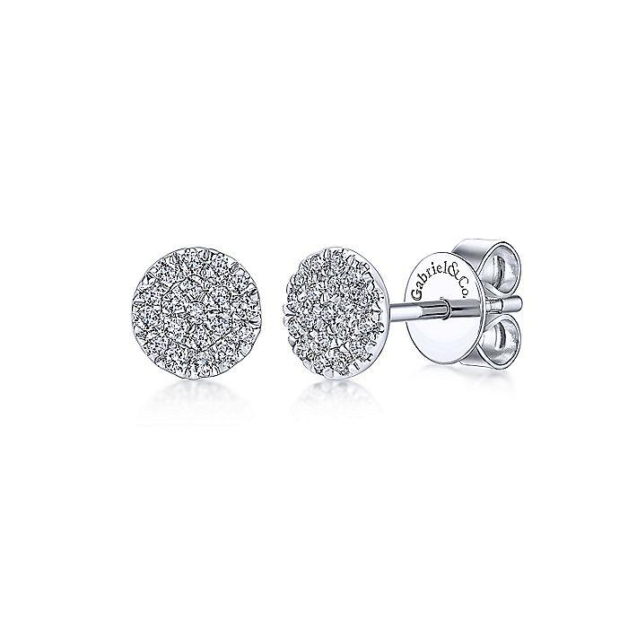14K WHITE GOLD ROUND CLUSTER DIAMOND STUD EARRINGS - M&R Jewelers