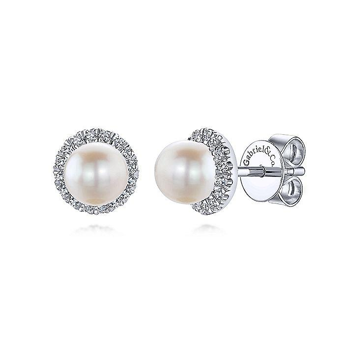 14K WHITE GOLD ROUND DIAMOND HALO PEARL STUD EARRINGS - M&R Jewelers
