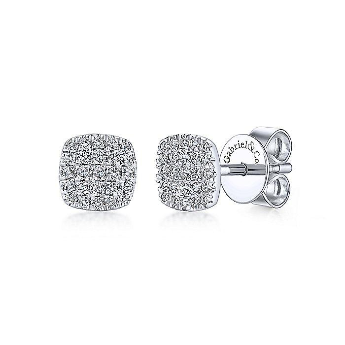 14K WHITE GOLD SQUARE PAV DIAMOND STUD EARRINGS
