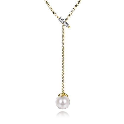 14K YELLOW GOLD Y KNOT CULTURED PEARL AND DIAMOND NECKLACE - M&R Jewelers