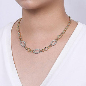 GABRIEL & CO. 14K YELLOW WHITE GOLD FASHION NECKLACE - M&R Jewelers