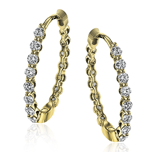SIMON G 18K GOLD WHITE LE4546-Y HOOP EARRING - M&R Jewelers