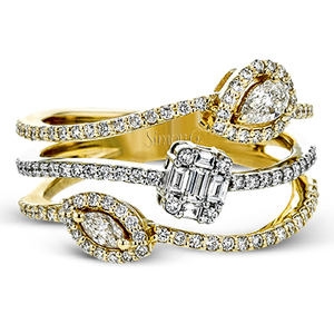 18K YELLOW & WHITE GOLD, WITH WHITE DIAMONDS. LR2304 - RIGHT HAND RING