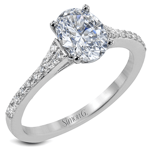 18K GOLD WHITE LR2507-OV ENGAGEMENT RING - M&R Jewelers