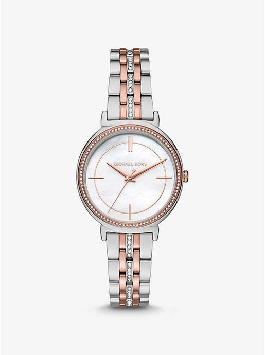 MICHAEL KORSMINI CINTHIA PAVÉ TWO-TONE WATCH MK3831 - M&R Jewelers
