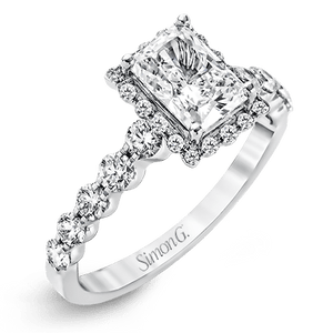 SIMON G 18K GOLD WHITE MR2088 ENGAGEMENT RING - M&R Jewelers