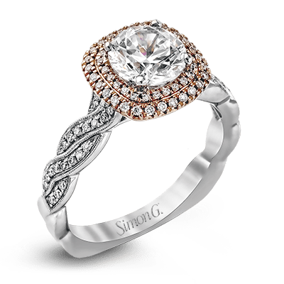 SIMON G 18K GOLD WHITE MR2133-D ENGAGEMENT RING - M&R Jewelers