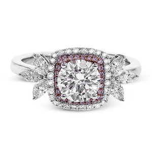 SIMON G 18K GOLD WITH WHITE & ROSE DIAMOND MR2826 ENGAGEMENT RING - M&R Jewelers