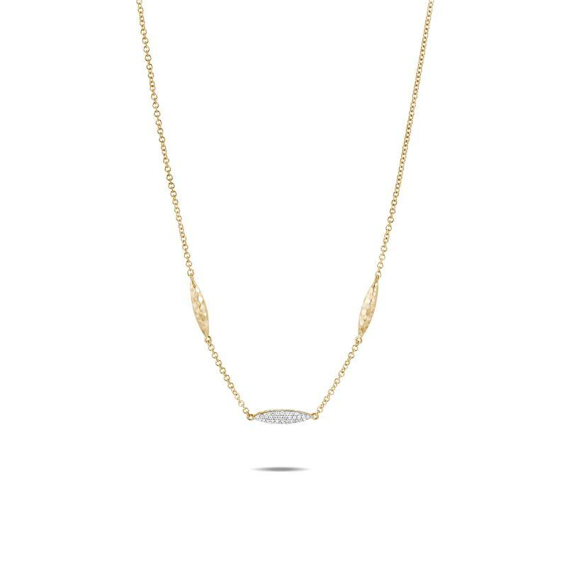 Classic Chain Hammered Station Necklace, Diamonds - M&R Jewelers