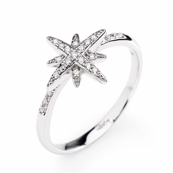 Amen Southern Cross - Sterling Silver and White Cubic Zirconia Ring - M&R Jewelers