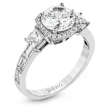Load image into Gallery viewer, SIMON G 18K GOLD WHITE TR597 ENGAGEMENT RING