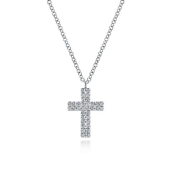 NK5564W45JJ 14K WHITE GOLD CROSS DIAMOND NECKLACE