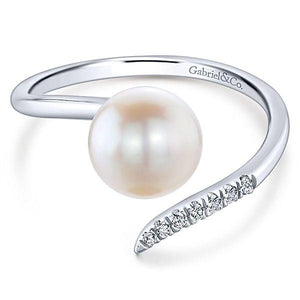 LR51058W45PL 14K WHITE GOLD FASHION DIAMOND CULTURED PEARL LADIES' RING - M&R Jewelers