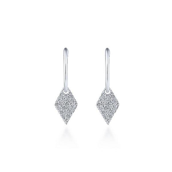 EG13475W45JJ 14K WHITE GOLD DROP DIAMOND EARRINGS - M&R Jewelers