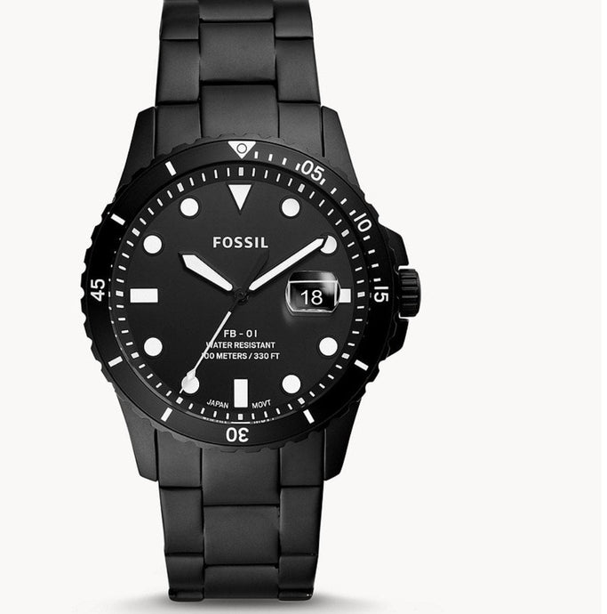 Fossil Three-Hand Date Black Stainless Steel-FS5659
