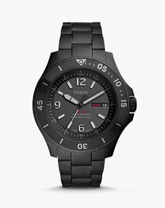 Fossil Three-Hand Date Black Stainless Steel Watch-FS5688