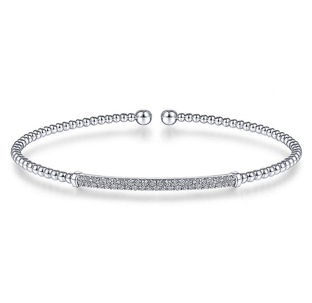 Gabriel & Co-14 K White Gold Bujukan Split Cuff Bracelet with Diamond Pavé Bar *