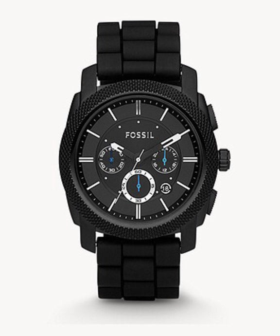 Fossil Machine Chronograph Black Silicone Watch-FS 4487IE