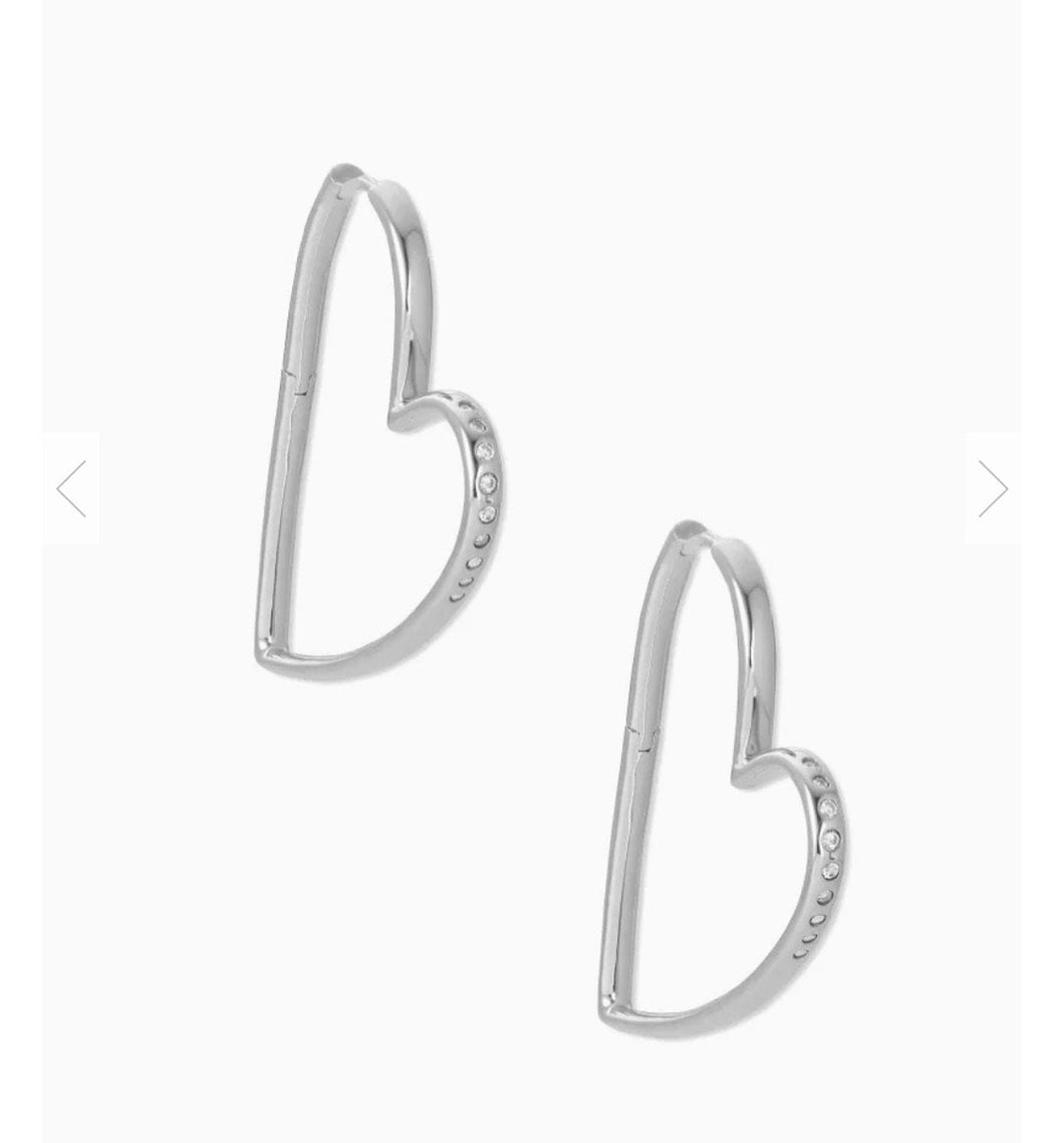 Kendra Scott-Ansley Silver Heart Earrings 4217710150