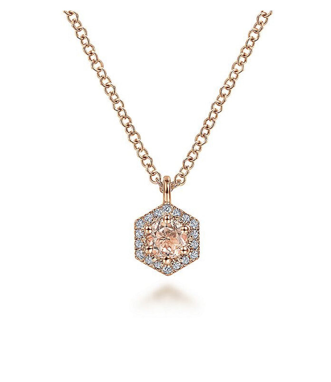 Gabriel & Co-14 K Rose Gold Hexagonal Halo Morganite and Diamond Pendant Necklace