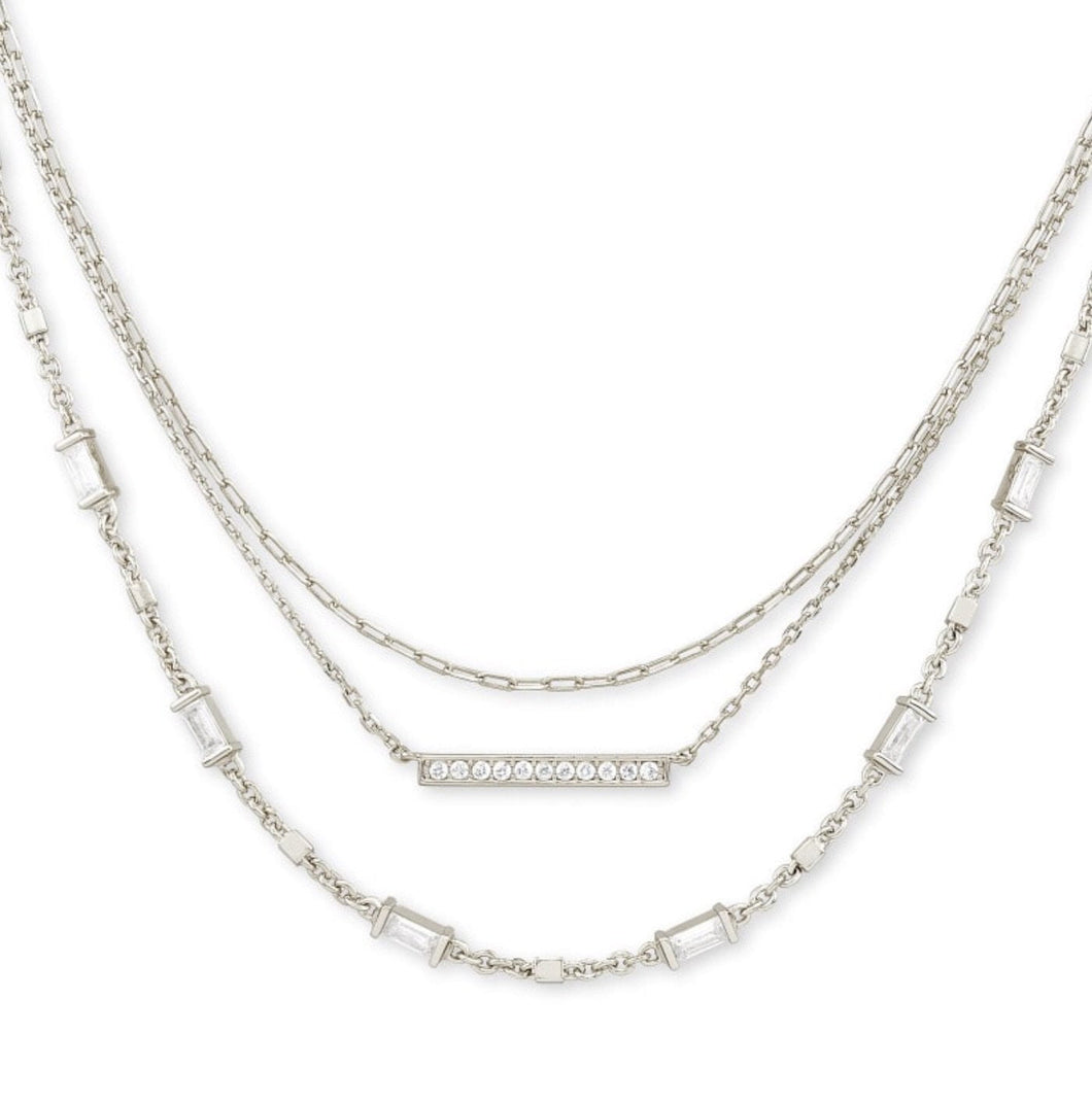 Kendra Scott-Addison Triple Strand Necklace In Silver metal 4217717793