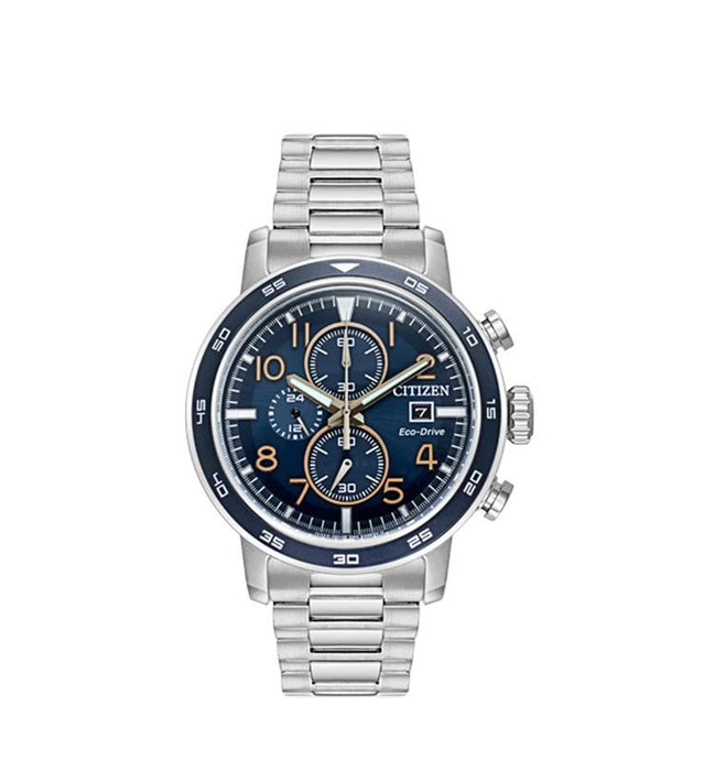 Citizen Eco-Drive Mens Silver Chronograph Stainless Steel Band Blue Sunray Quartz Dial Watch - CA0647-52L