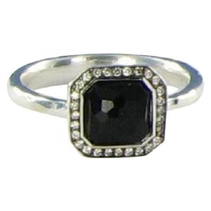 IPPOLITA DIAMONDS BLACK ONYX STERLING SILVER STELLA 0.11CTS RING - M&R Jewelers