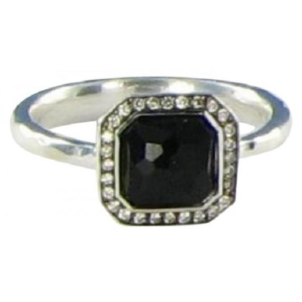 IPPOLITA DIAMONDS BLACK ONYX STERLING SILVER STELLA 0.11CTS RING