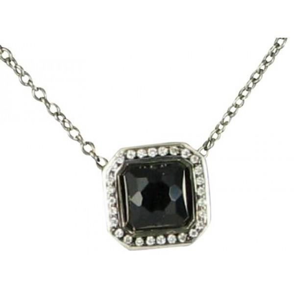 IPPOLITA BLACK ONYX STERLING SILVER STELLA 0.11CTS DIAMONDS SQUARE NECKLACE