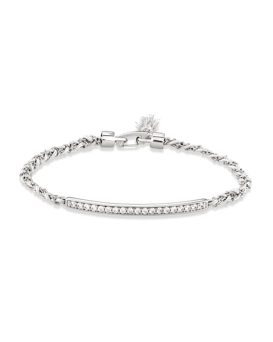 ADDISON SILVER FRIENDSHIP BRACELET IN WHITE CORD 4217717797