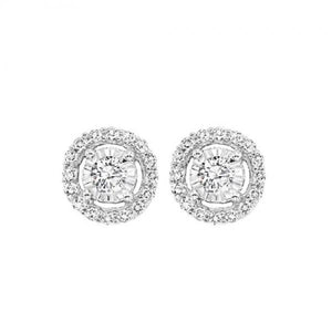 14KT WHITE GOLD HALO EARRINGS - M&R Jewelers