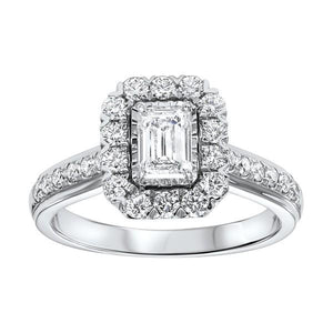14KT WHITE GOLD EMERALD CUT DIAMOND RING - M&R Jewelers