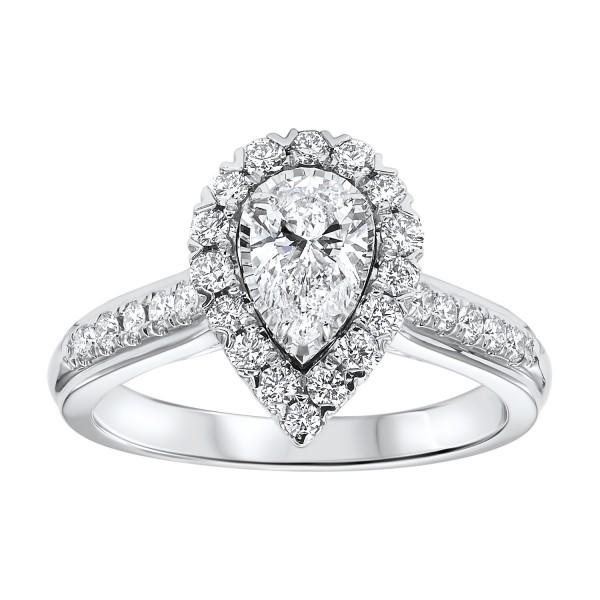 14KT WHITE GOLD PEAR SHAPE DIAMOND RING - M&R Jewelers