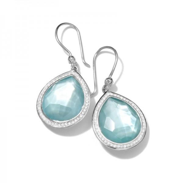 TEARDROP EARRINGS IN STERLING SILVER WITH DIAMONDS