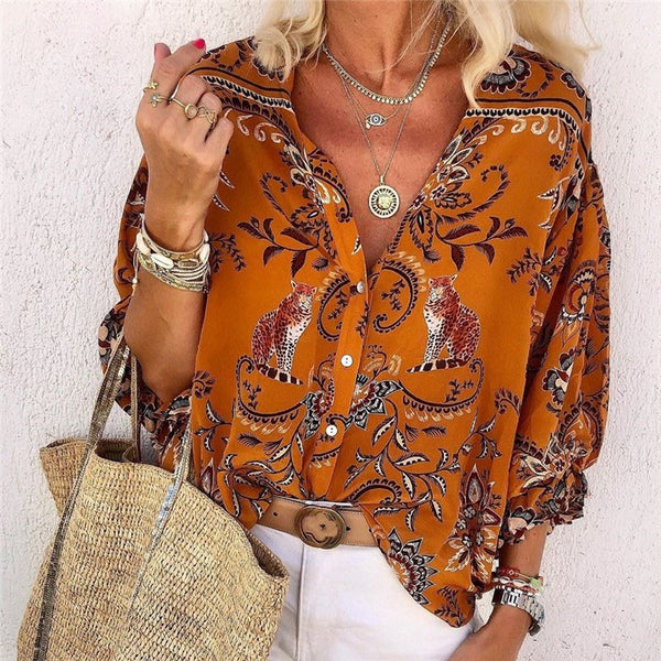 Fashion Casual Leopard Totem Print Long Sleeve Shirt