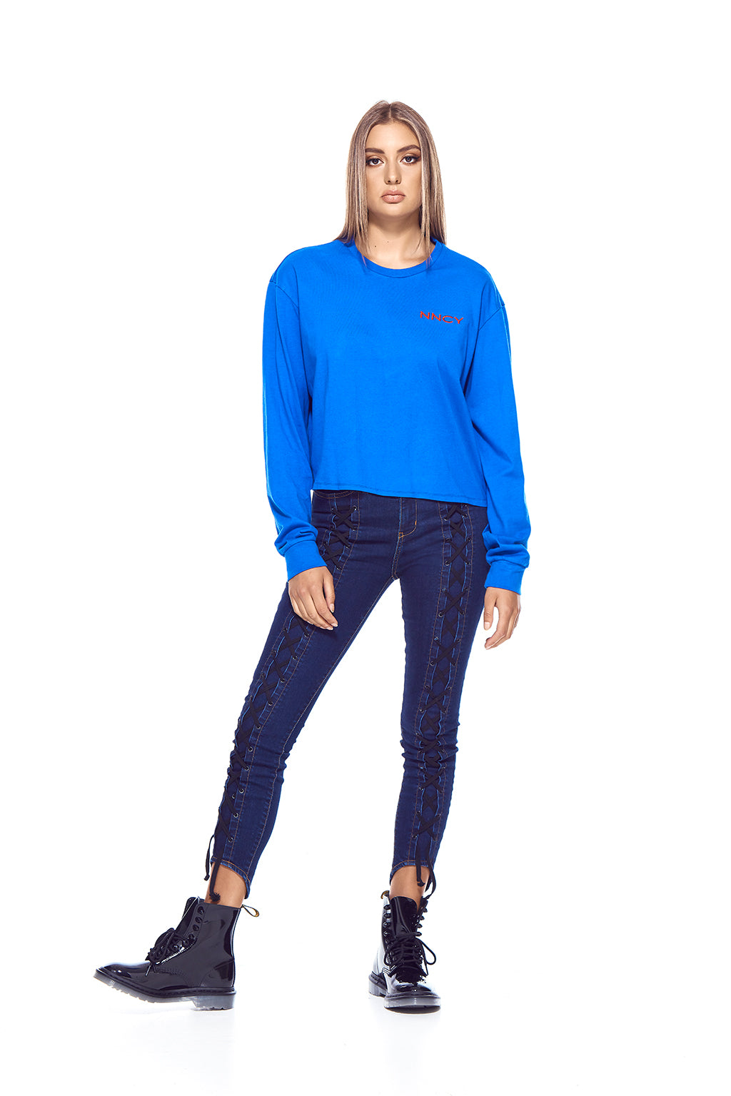 NNCY Oversized Logo Sleeve - Blue