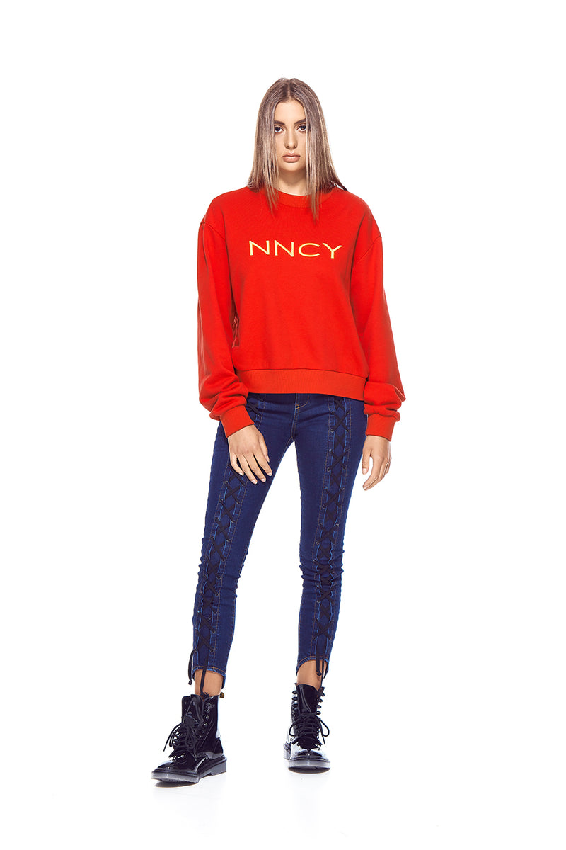 NNCY Oversized Logo Sweater - Red