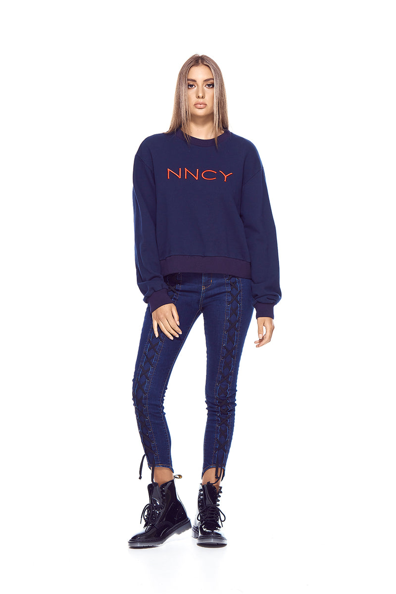 NNCY Oversized Logo Sweater - Navy