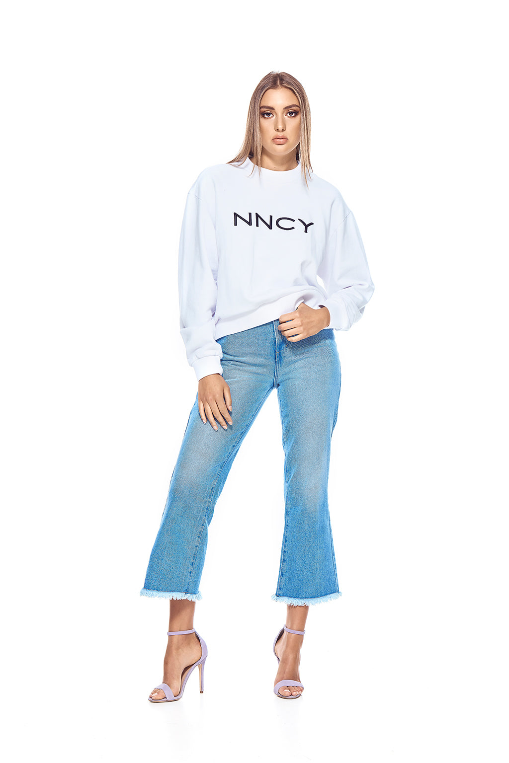 NNCY Oversized Logo Sweater - White