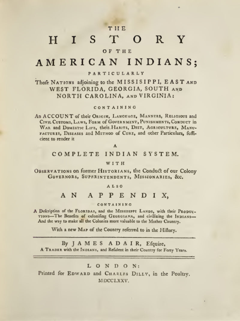 1775 The history of the American Indians